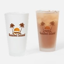 Sanibel Island - Palm Trees Design. Drinking Glass