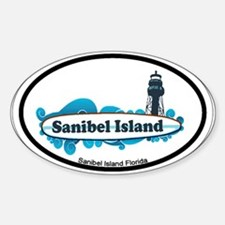 Sanibel Island - Surf Design. Sticker (Oval)