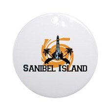 Sanibel Island - Lighthouse Design. Ornament (Roun