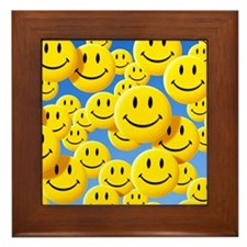 Smiley face symbols - Framed Tile