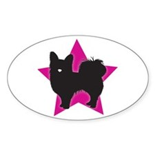 Long-haired Chihuahua Oval Decal