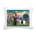 St Francis / Collie Pair Rectangular Canvas Pillow