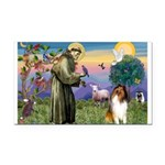 St. Francis & Collie Rectangle Car Magnet