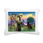 St Francis Chocolate Lab Rectangular Canvas Pillow