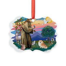 St.Francis #2/ Pomeranian (r) Ornament