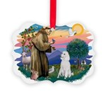 St.Francis #2/ Poodle (Std W) Picture Ornament
