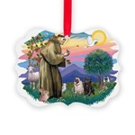 St.Francis #2/ Pugs (2-blk/f) Picture Ornament