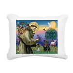 St Francis / Pug Rectangular Canvas Pillow