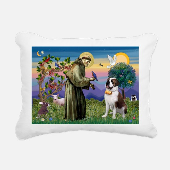 St. Francis/ St. Bernard Rectangular Canvas Pillow