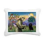 St Francis / Schipperke Rectangular Canvas Pillow