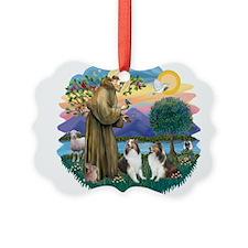 St.Francis (w) / 2 Shelties Ornament
