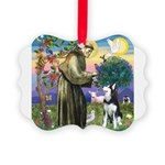 St Francis & Husky Picture Ornament