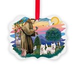 St.Francis #2/ Westies (2) Picture Ornament