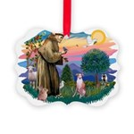 St Francis #2/ Whippet #7 Picture Ornament