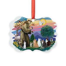St Francis 2 - 7 Cats.png Ornament