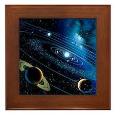 Artwork of the solar system - Framed Tile
