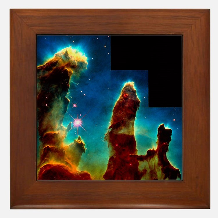 Gas pillars in Eagle Nebula - Framed Tile