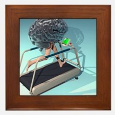 Running brain, conceptual artwork - Framed Tile