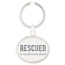 Rescued is Oval Keychain