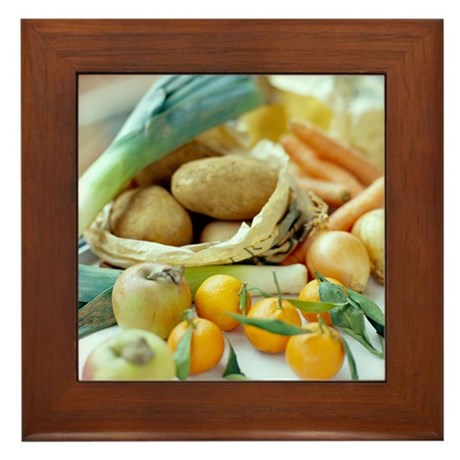 Organic fruits and vegetables - Framed Tile