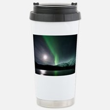Aurora borealis and Moon - Stainless Steel Travel
