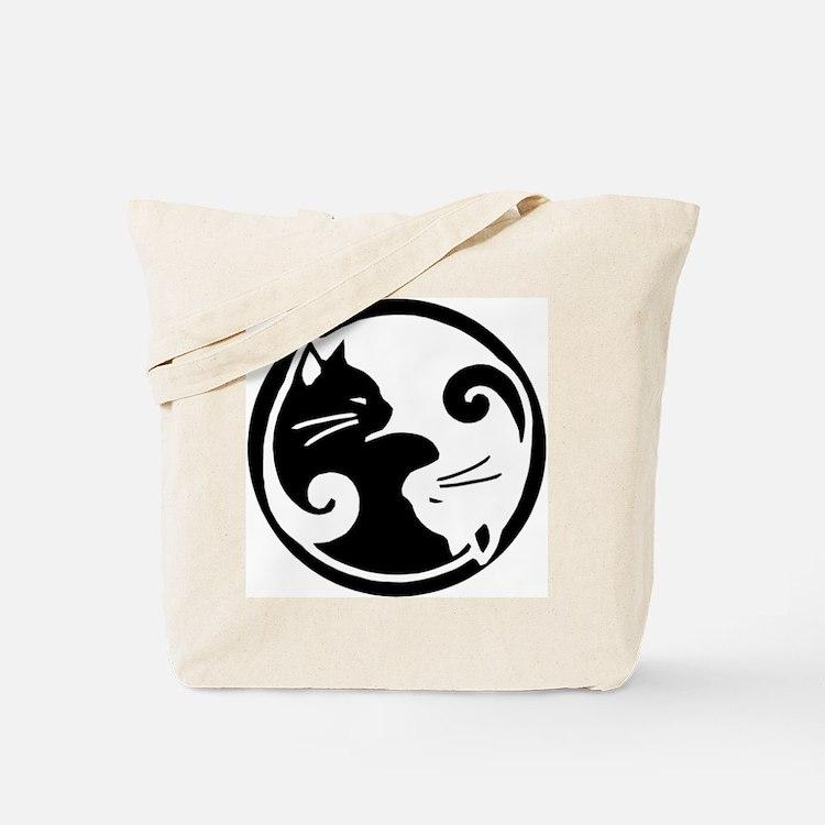 yin yang cat bags totes personalized yin yang cat reusable bags cafepress. Black Bedroom Furniture Sets. Home Design Ideas
