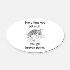 Cat Heaven Points Oval Car Magnet