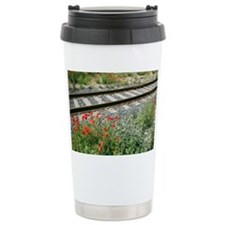 Poppies beside a rail track - Travel Mug