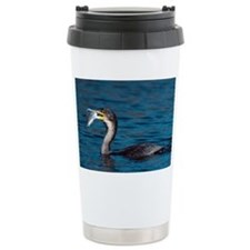 White-breasted cormorant with fish - Travel Mug