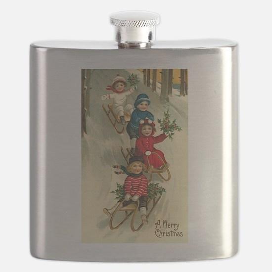 Christmas Kids Sledding Flask