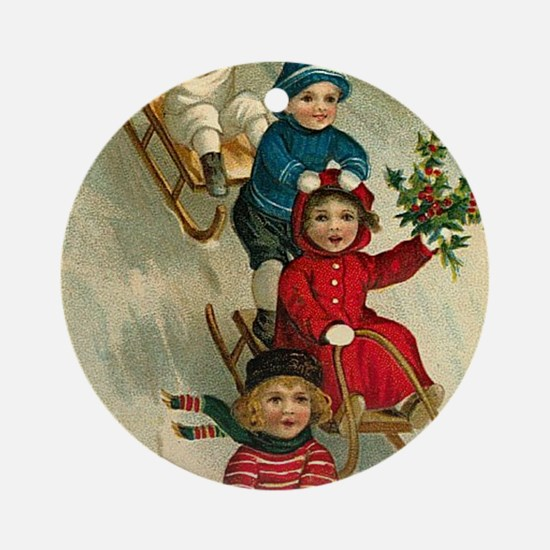 Christmas Kids Sledding Round Ornament