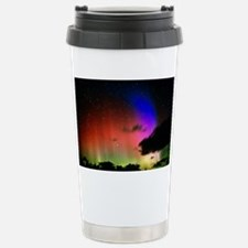 Aurora Borealis display with clouds - Travel Mug