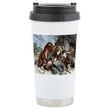 Early humans using weapons - Travel Mug