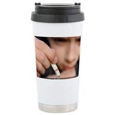 Boy playing with a cigarette - Travel Mug