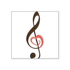 "Love Music Square Sticker 3"" x 3"""