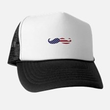 US Flag Mustache Trucker Hat