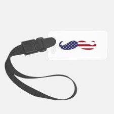 US Flag Mustache Luggage Tag