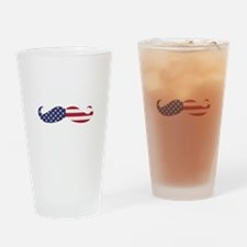 US Flag Mustache Drinking Glass