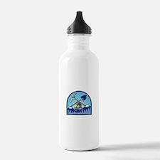 Coal Miner Hardhat Pick Axe Shovel Retro Water Bottle