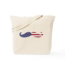 US Flag Mustache Tote Bag