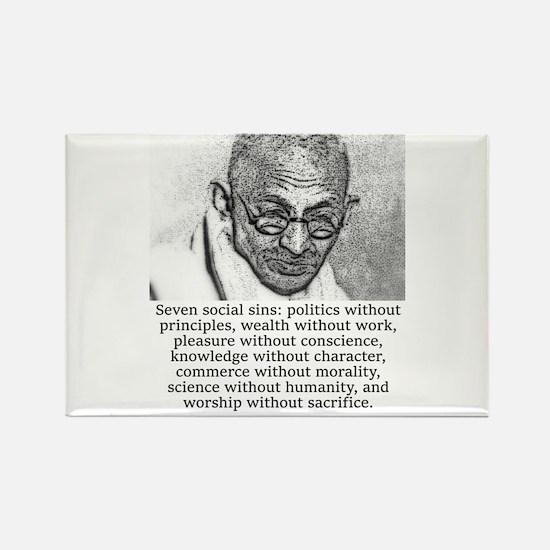 Seven Social Sins - Mahatma Gandhi Magnets