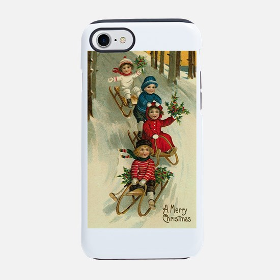 Christmas Kids Sledding iPhone 7 Tough Case