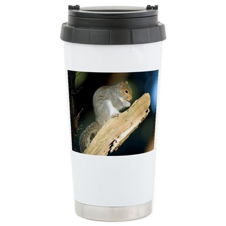 Grey squirrel feeding - Stainless Steel Travel Mug