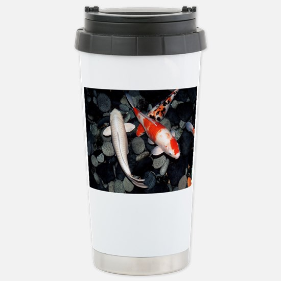 Koi carp in a pond - Stainless Steel Travel Mug