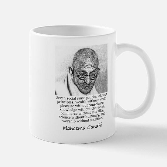 Seven Social Sins - Mahatma Gandhi Mugs