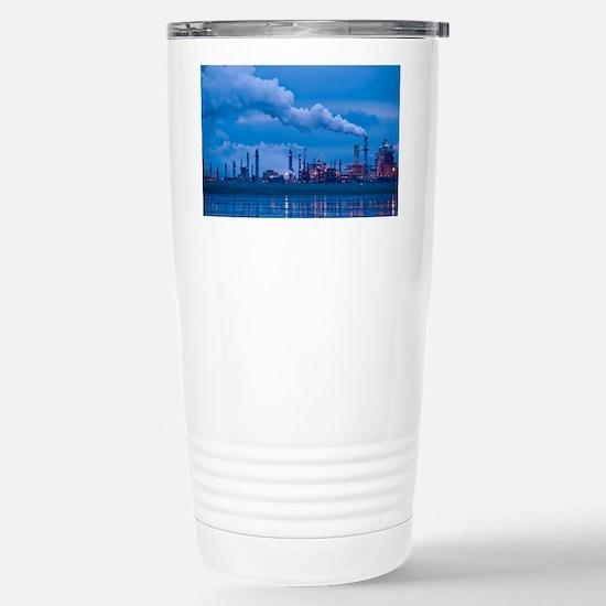 Oil refinery at dusk - Stainless Steel Travel Mug