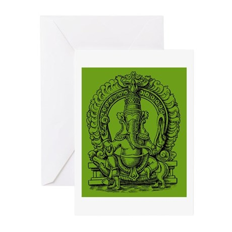 Green Ganesh Hindu God of Knowledge Engraving Gree