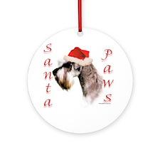 Santa Paws Miniature Schnauzer Ornament (Round)