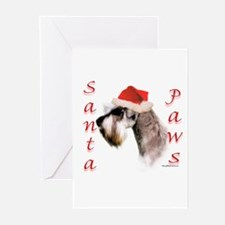Santa Paws Miniature Schnauzer Greeting Cards (Pac