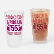 55th Birthday rock and roll Drinking Glass
